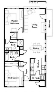 "Floor plan ""A"" 2 Bedroom 2 Bath end unit"