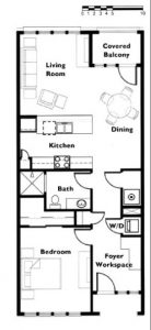 "Floor plan ""A"" 1 Bedroom 1 Bath"