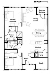"Floor plan ""D"" 2 Bedroom 2 Bath"