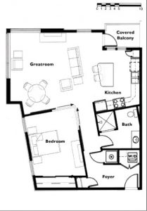"Floor plan ""E"" 1 Bedroom 1 Bath"