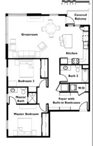 "Floor plan ""F"" 2 Bedroom 2 Bath end unit"