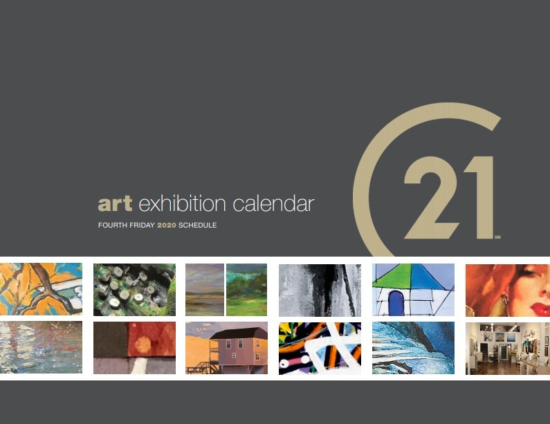 The front cover of the 2020 Fourth Friday Gallery Exhibit Calendar with thumbnails of works by each artist across the lower half of the page.