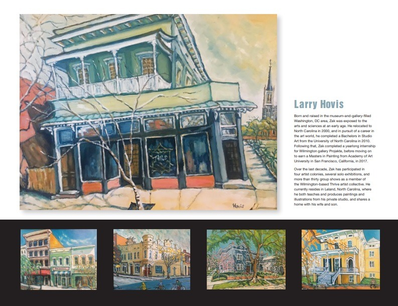 Paintings from the January Fourth Friday Gallery Exhibit for Century 21 Sweyer by Larry Hovis shows one larger painting of a Front St building on top and 4 smaller pieces below with the artist's statement to the right.