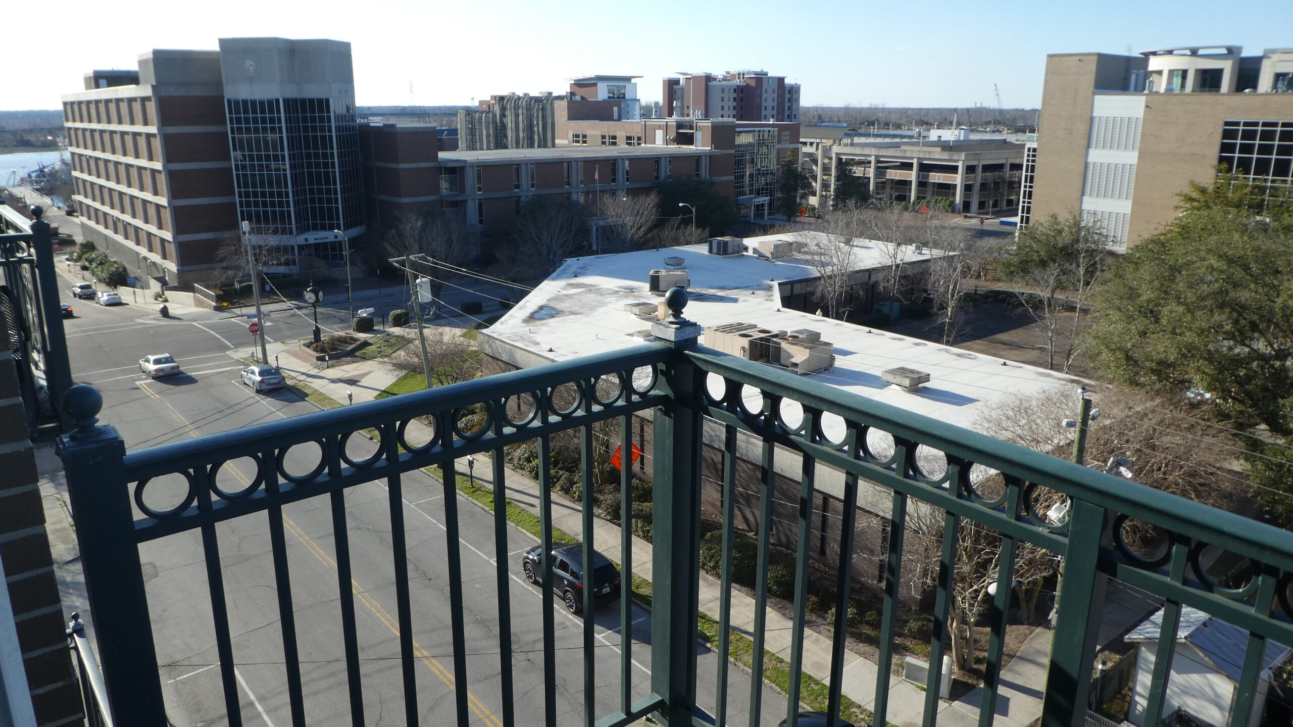 Photo shows the view northwest from a balcony at Bannerman Station