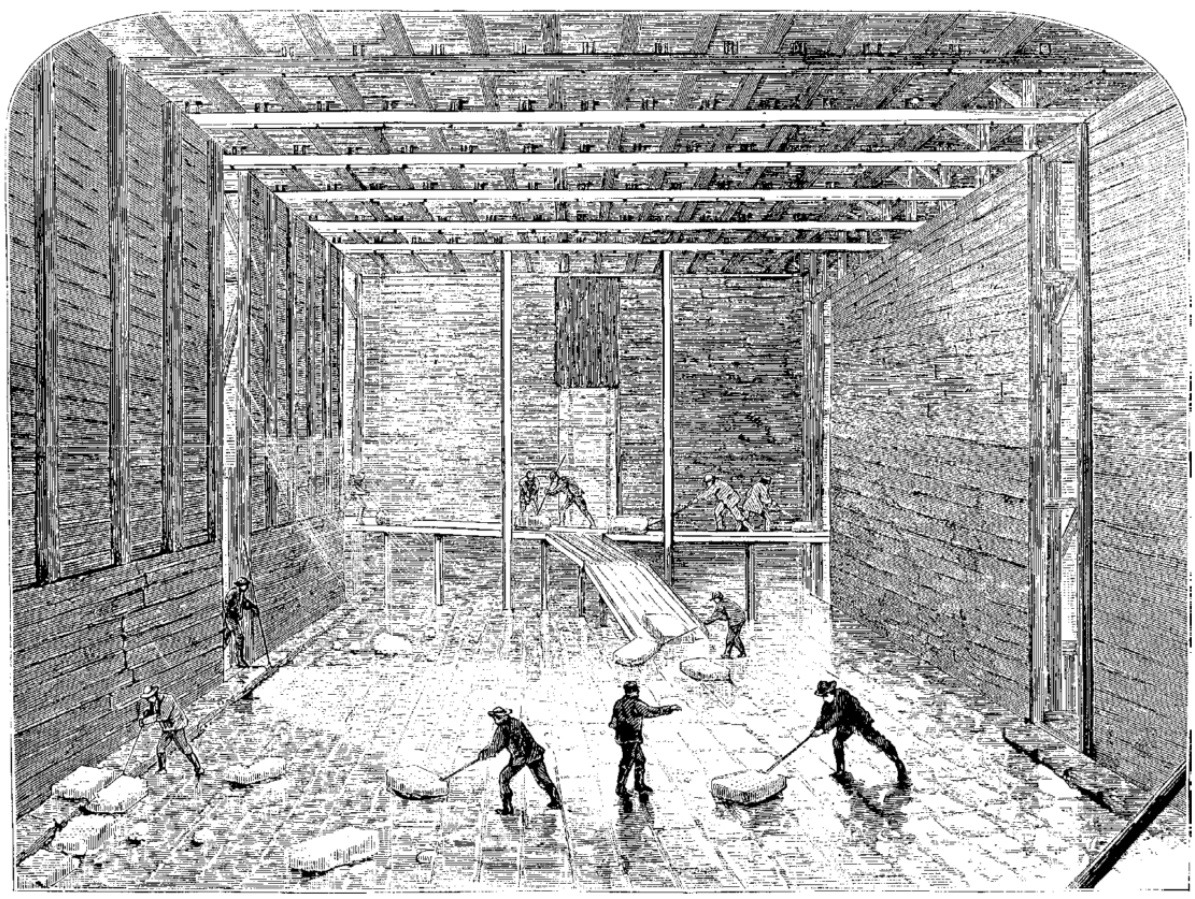 Etching of the interior of an ice house