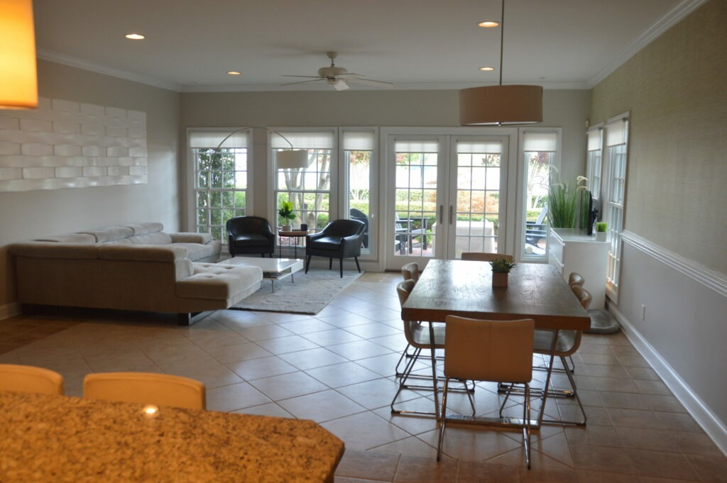 Photo of a living room at Governors Landing looking west toward the river