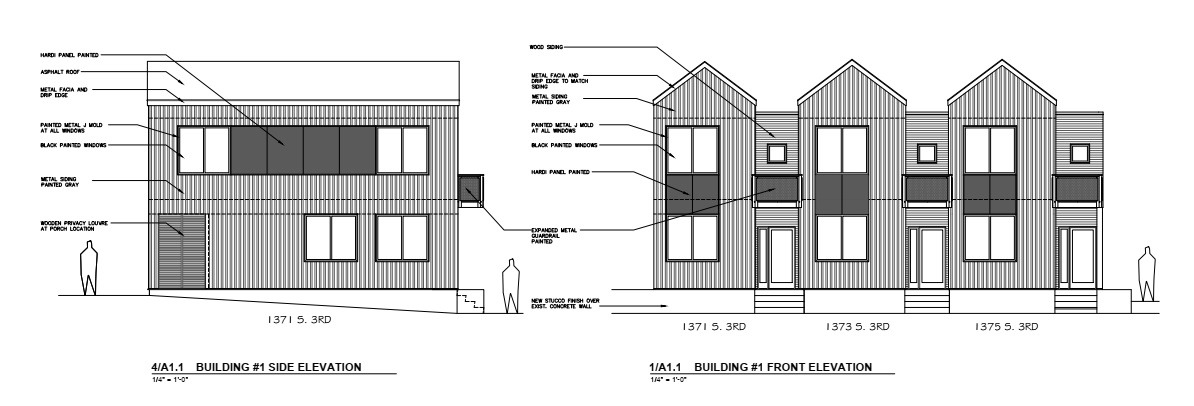 Architectural Elevations for the front and side