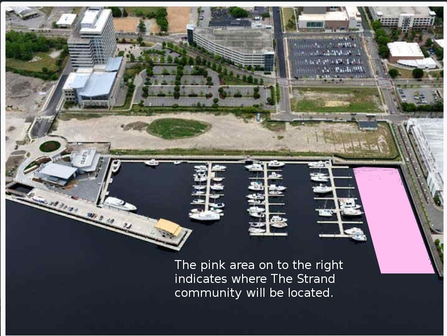 Aerial view of Port City Marina with pink rectangle showing where The Strand will be located