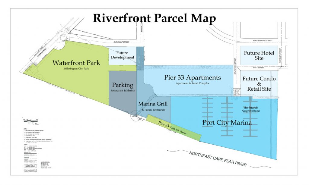 Land Map of Northeast Cape Fear River shows parcels surrounding The Strand houseboat community and their uses