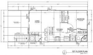 Floor plan drawing of the Southport houseboat model