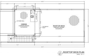 Drawing of the second story of the Southport 1 BR houseboat floor plan