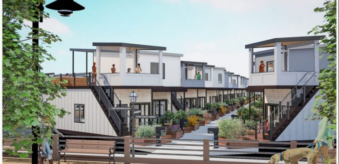 Drawing depicts the future street scape for The Strands houseboat community